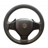 MEWANT Hand Stitch Black Real Genuine Leather PU Leather Car Steering Wheel Cover for Suzuki Alivio 2015 2016, Black Leather Sides Perforated Hand Sewn Steering Wheel Cover