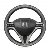 MEWANT Hand Stitch PU Leather Real Genuine Leather Suede Carbon Fiber Car Steering Wheel Cover for Honda Jazz 2008-2014 / City 2009-2013 / Insight 2010-2012