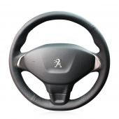 For Peugeot 301,MEWANT Custom Black Leather Steering Wheel Cover Wrap Protected Skin