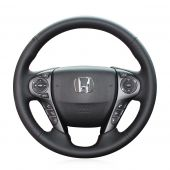 MEWANT Hand Stitch Black Real Genuine Leather Car Steering Wheel Cover for Honda Accord 9 2013-2017 / Pilot 2016-2018 / Ridgeline 2017-2020 / Crosstour 2013-2015