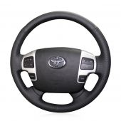 MEWANT Hand Stitch Black Real Genuine Leather Car Steering Wheel Cover for Toyota Land Cruiser (200 Series) 2007-2015 Land Cruiser (70 Series)2010-2019 Tundra 2007-2013 Sequoia 2008-2013 HiAce 2014-2018