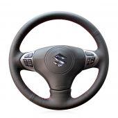 MEWANT Hand Stitch Black Real Genuine Leather Car Steering Wheel Cover for Suzuki Grand Vitara 2006-2014