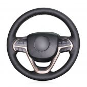 MEWANT Hand Stitch Black Leather Car Steering  Wheel Cover for Jeep Grand Cherokee 2014 2015 2016