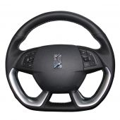 MEWANT Hand Stitch Black PU Leather Real Genuine Leather Car Steering Wheel Cover for Citroen DS5 DS 5 DS4S DS 4S
