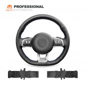 MEWANT Hand Stitch Black Suede Car Steering Wheel Cover for Volkswagen VW Golf 7 GTI Scirocco Up! Arteon Tiguan Allspace Touran (R-Line) T-Roc (R-Line) Passat (R-Line-Suede & Marker-MEWANT-Red Thread-No