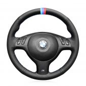 MEWANT Black Suede Artificial Genuine Leather Car Steering Wheel Cover for BMW 3 Series E46 / 5 Series E39 / M3 E46 / M5 E39