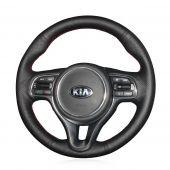 MEWANT Hand Stitch Black Real Genuine Leather Car Steering Wheel Cover for Kia K5 Optima 2016-2018 / Sportage KX5 2016-2019 / Niro 2017-2019