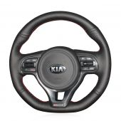 MEWANT Hand Stitch Black Real Genuine Leather PU Leather Car Steering Wheel Cover for Kia K5 Optima 2016-2018 / Sportage KX5 2016-2019
