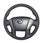 MEWANT Hand Stitch Black Real Genuine Leather PU Leather Car Steering Wheel Cover for Nissan Armada Titan NV NV Passenger Cargo for Infiniti QX56