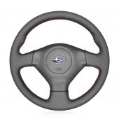 MEWANT Hand Sew Custom Genuine Leather Car Steering Wheel Cover for Subaru Forester Impreza WRX (WRX STI) Legacy Outback for Saab 9-2X