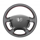 For Honda CRV CR-V 2002 2003 2004 2005 2006, Custom Black Leather Perforated Hand Sew Steering Wheel Wrap Cover