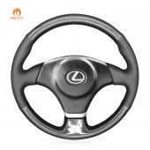 MEWANT Hand Stitch Black Leather Suede Carbon Fiber Car Steering Wheel Cover for Lexus IS 200 1999-2005