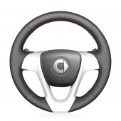 For Smart Fortwo 2009-2013 Smart Forjeremy 2013, Design Genuine Leather Suede Hand Sewn Wrapped Steering Wheel Cover