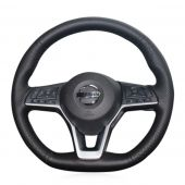 MEWANT Black Artificial Real Genuine Leather Car Steering Wheel Cover for Nissan Qashqai X-Trail Leaf Juke Micra Serena 2017 2018-2020 Altima