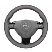MEWANT Hand Stitch Black Real Leather Car Steering Wheel Cover for Opel Astra (H) 2004-2009 / Zaflra (B) 2005-2014 / Signum 2005-2009 / Vectra (C) 2005-2009