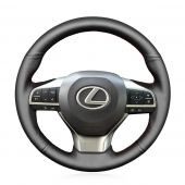 MEWANT Hand Stitch Black Real Genuine Leather PU Leather Car Steering Wheel Cover for Lexus ES300h 2016 2017 2018 / ES350 2016 2017 2018