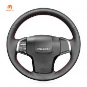MEWANT Hand Stitch Black PU Leather Real Genuine Leather Car Steering Wheel Cover for Isuzu D-Max 2016-2019 / MU-X 2013-2020 / for Holden Colorado (AU) 2012-2019