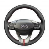 for Hyundai Veloster 2019 MEWANT Hand-stitched Durable Stitching Black Artificial Leather Car Steering Wheel Cover
