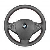MEWANT DIY Black Real Genuine Leather Car Steering Wheel Cover Wrap for BMW X3 E83 2005-2010