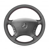 For Mercedes-Benz S-Class W220 S500 S600 S430 S350 2004 2005 2006,MEWANT DIY Black Leather Steering Wheel Cover Wrap Protected