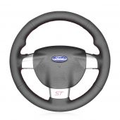 For Ford Focus ST 2005 2006 2007 2008 2009 2010,MEWANT Custom Hand-stitched Black Leather Steering Wheel Cover Wrap Protected