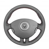For Renault Clio 3 2005 2006 2007 2008 2009 2010 2011 2012 2013,MEWANT Custom Hand-stitched Black Leather Steering Wheel Cover Wrap