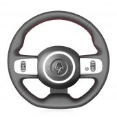For Renault Twingo 3 2014 2015 2016 2017 2018 2019,MEWANT Custom Hand-stitched Black Leather Steering Wheel Cover Protected