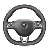 MEWANT Hand Stitch PU Leather Real Genuine Leather Car Steering Wheel Cover for Skoda Octavia 2015-2019 / Fabia 2016-2019 /  Kodiaq 2016-2019  / Citigo 2015-2019 / Superb 2016-2019 / Scala 2019