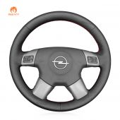 MEWANT Hand Stitch Black PU Leather Real Genuine Leather Car Steering Wheel Cover for Opel Vectra C 2002-2005 / Signum 2003-2005 / Vauxhall Vectra C 2002-2004 / Signum 2003-2005 / Holden Vectra 2002-2005