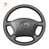 MEWANT Hand Stitch Black PU Leather Real Genuine Leather Car Steering Wheel Cover for Toyota Land Cruiser 1996-2002 / Land Cruiser Prado 1996-2002
