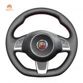 MEWANT Black Leather for Abarth 500 2009-2016 / 500C 2010-2015 / 595 2012-2016 / 595C 2012-2016 for Fiat 500 (GQ/S) 2013-2015 / 500C (S) 2013-2015