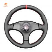 MEWANT Hand Stitch Black PU Leather Real Genuine Leather Car Steering Wheel Cover forHondaIntegraTypeRDC21996-1998