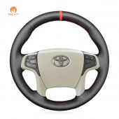 MEWANT Hand Stitch Black PU Leather Real Genuine Leather Car Steering Wheel Cover for Toyota Sienna 2011-2014