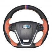 For Geely EMGRAND GT 2015 2016 2017,MEWANT Hand-stitched 3D Design Black with Orange Leather Steering Wheel Cover Wrap Protecter