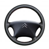 For Citroen Xsara Picasso 2001 2002 2003 2004, Black Genuine Leather Sides Perforated Hand Stitch Steering Wheel Wrap Cover
