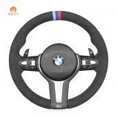 MEWANT High Quality Dark Grey Alcantara Material Car Steering Wheel Covers for BMW M2 F87 M3 F80 M4 F82 F83 M5 F10 M6 F06 F12 F13 X5 M F85 X6 M F86