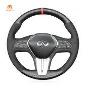 MEWANT Hand Stitch Black Suede Carbon Fiber Car Steering Wheel Cover for Infiniti Q50 2018-2019 / Infiniti Q60 2016-2018 / Infiniti QX50 2018-2019