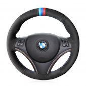 MEWANT Hand Stitch Customize Black Real Genuine Leather Suede Car Steering Wheel Cover for BMW 1 Series 3 Series E90 E91 E92 E93 / E87 E81 E82 E88 / X1 E84