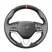 MEWANT Hand Stitch Black Leather Suede Car Steering Wheel Cover for Hyundai Tucson 2016-2021