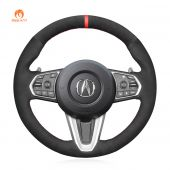 MEWANT Hand Stitch Black Real Genuine Leather Suede Car Steering Wheel Cover for Acura RDX 2019-2021