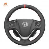 MEWANT Hand Stitch Black Suede Car Steering Wheel Cover for Honda CR-V CRV 2012-2018
