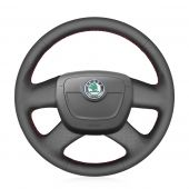 For Skoda Octavia 2009-2013 Citigo 2011-2012 Roomster Fabia 2009-2012 Superb Yeti Black Genuine Leather Car Steering Wheel Cover