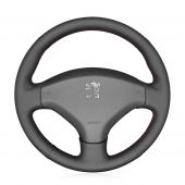 For Peugeot 308 2007-2013 408 2012-2014 MEWANT Black Genuine Leather Soft Hand Sew Wrap Car Steering Wheel Cover