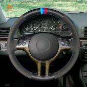 MEWANT Hand Stitch Black Genuine Leather Suede Car Steering Wheel Cover for BMW E46 318i 325i 330ci / E39 / X5 E53 / Z3 E36/7 E36/8