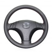 MEWANT Hand Stitch Black Artificial Real Genuine Leather Suede Car Steering Wheel Cover for Mazda 3 Axela 2004-2009 / Mazda 5 2004-2010 / Mazda 6 Atenza 2003-2008 / Mazda MPV 2004-2006