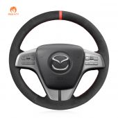 MEWANT Hand Stitch Black PU Artificial Leather Real Genuine Leather Car Steering Wheel Cover for Mazda 6 Atenza 2009-2013 Mazda6(GH)2007-2012