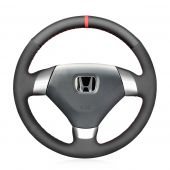 MEWANT Hand Stitch Black Real Genuine Leather Suede Car Steering Wheel Cover for Honda Accord (Coupe) 7 2003-2007 / for Acura TSX 2004-2008 / Accord Euro 2003-2005