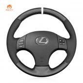 MEWANT Hand Stitch Black Leather Suede Carbon Fiber Car Steering Wheel Cover for Lexus IS 250 250C 350 350C IS F Sport 2006-2013