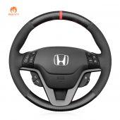MEWANT Hand Stitch Matte Carbon Fiber Suede Car Steering Wheel Cover for Honda CR-V CRV 2006-2012 / Crossroad 2007
