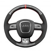 MEWANT PU Leather Real Genuine Leather Suede Carbon Fiber Car Steering Wheel Cover for Audi A3 (8P) Sportback A4 (B8) Avant A5 (8T) A6 (C6) A8 (D3) Q5 (8R) Q7 (4L) S3 S4 S5 S6 S8 RS 4 Seat Exeo (ST) 2009-2012